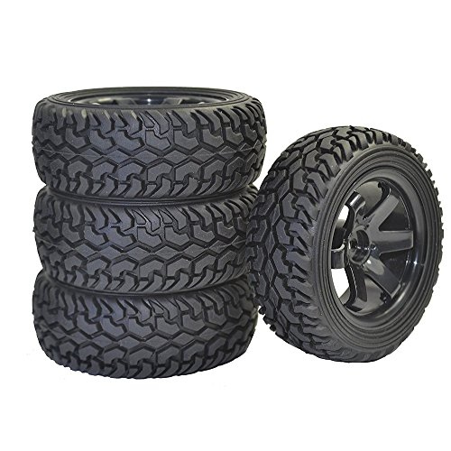 LAFEINA 4PCS RC Rally Car Grain Rubber Tires and Wheel, used for sale  Delivered anywhere in USA