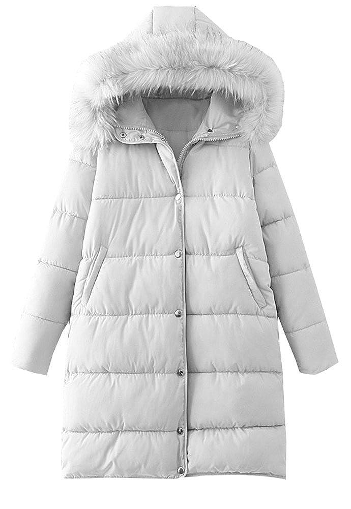 Eleter Winter Women Fur Collar Cotton Coat Hooded Detachable Down Jacket