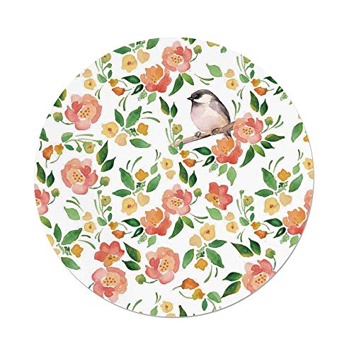 Polyester Round Tablecloth,Floral,Flower Petals Blossoms Leaves and Bird Sitting Vintage Elegance Image,Coral Fern Green White,Dining Room Kitchen Picnic Table Cloth Cover,for Outdoor Indoor ()
