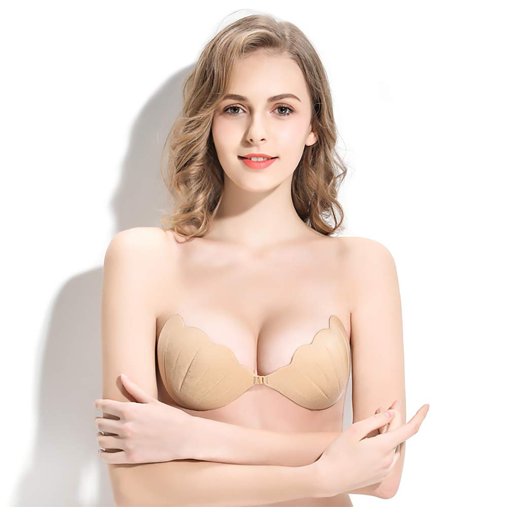 Women Push Up Strapless Sticky Plunge Bra Shells Shape Invisible Reusable Lift Self Adhesive Bra (Beige, B)