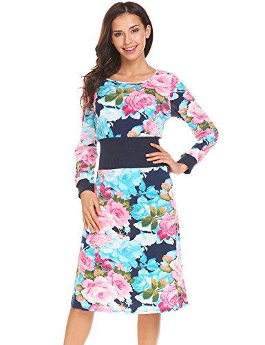 Belted Floral Belt (OD'lover Women's Vintage High Waist Elastic Belt Floral Bohemian Party Flower Dress)
