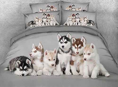JF-107 3pcs Husky Babies 3d digital Animal print bed sheet set dogs duvet cover set grey bedding sets king size (Queen)