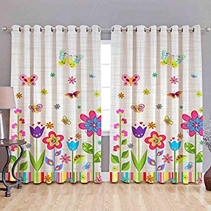b7 CREATIONS® Printed Floral Whiteout Fabric Eyelet Window 4x5ft Curtain (Multicolour)