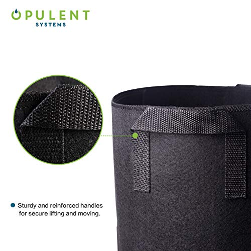 OPULENT SYSTEMS 5-Pack 5 Gallon Grow Bags Heavy Duty Aeration Fabric Growing Bag Thickened Nonwoven Fabric Containers for Potato Plant Pots with Handles (Black) …