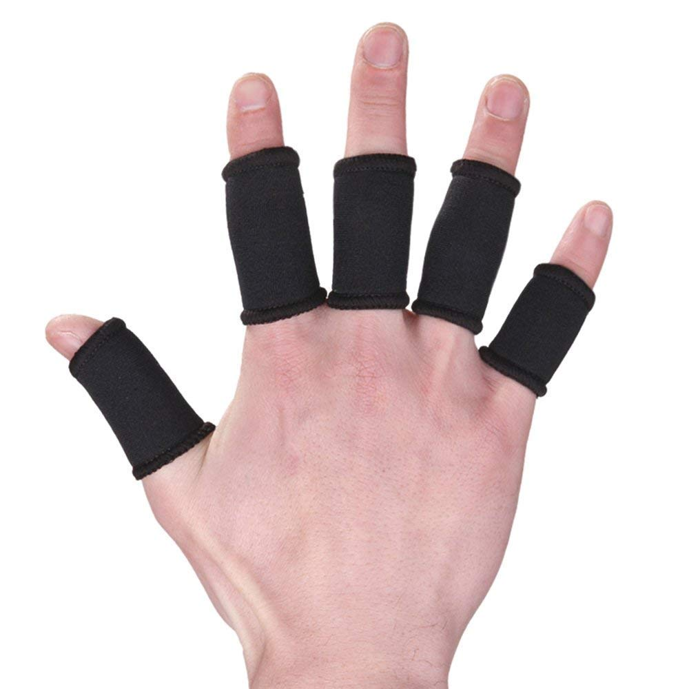 Xeminor Elastic Finger Sleeve Cover Nylon Finger Protector Sleeve Support Stretchy Protection Gloves Finger Guard for Outdoor Sports Black 10 Pcs by Xeminor (Image #3)