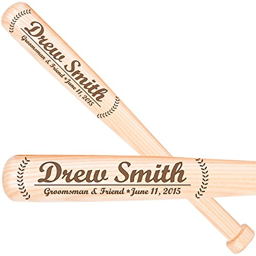 Personalized Adult Wood Baseball Bat - LifeSong Milestones Personalized wedding gifts for Groomsmen custom baseball bats for wedding party gift Best man junior groomsman ring bearer gift ideas (Groomsman)
