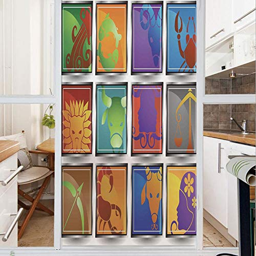 Decorative Window Film,No Glue Frosted Privacy Film,Stained Glass Door Film,Zodiac Sign Icon Frame Astrology Elements Character Forecast with Stars Graphic Home,for Home & Office,23.6In. by 59In Multi