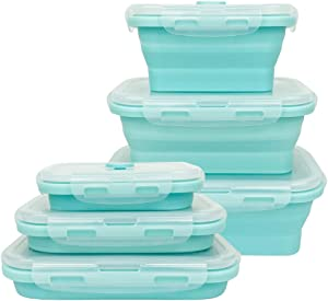 CARTINTS Silicone Collapsible Food Storage Containers-Prep/Storage Bowls with Lids - Set of 3 Square Silicone Lunch Containers - Microwave, Dishwasher and Freezer Safe (blue)