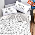 Vclife Twin Bedding Sets Kid Boy Duvet Cover Sets Cotton White Gray Geometric Printed Comforter Cover Sets 2 Pillowcases 1 Duvet Cover