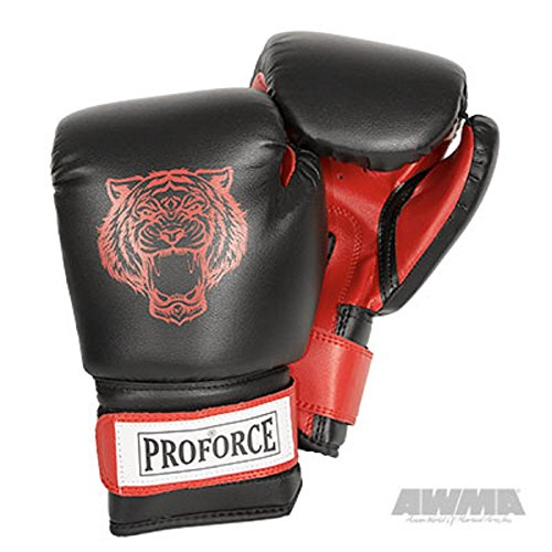 Pro Force Leatherette Boxing Gloves with White Palm (Red Tiger, 12 ()