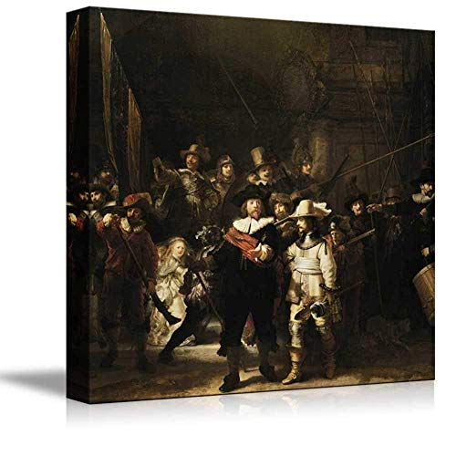 (Nachtwacht (or The Night Watch) by Rembrandt - Canvas Wall Art World Famous Fine Art Reproduction  Painting Replica on Wrapped Canvas Print Modern Home Decor Wood Framed Ready to Hang - 24