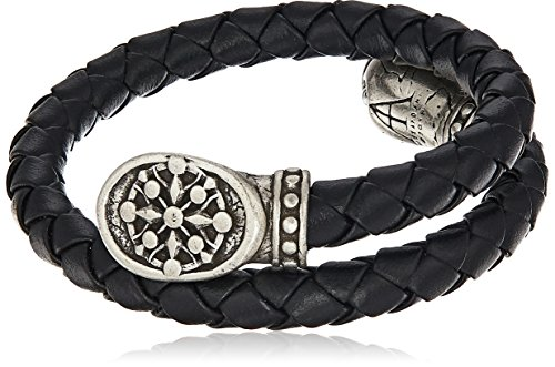 (Alex and Ani Men's Braided Leather Wrap Bracelet, Compass, Rafaelian Silver, Expandable)