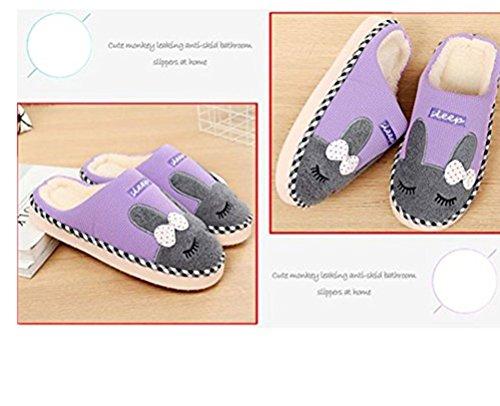 Animal Lounge Men Slip Bedroom beginning Printed Indoor Women Auspicious Unisex Cotton Purple Shoes Warm Slippers On qO1HC8x