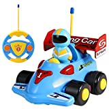 SGILE Cartoon Remote Control Car Racer Toys for Toddlers, Birthday Gift Present for 3 Year Olds Boys Girls Kids, Blue