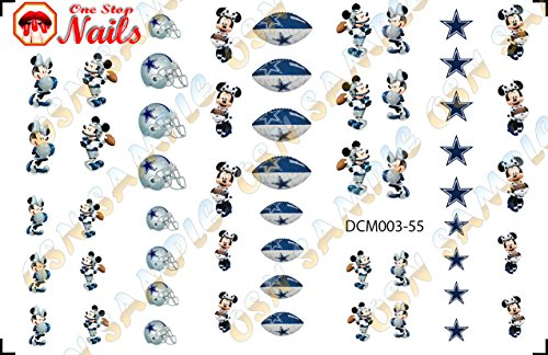Dallas Cowboys Mickey and Minnie Waterslide nail decals (Tattoos) V3 (Set of 55) -