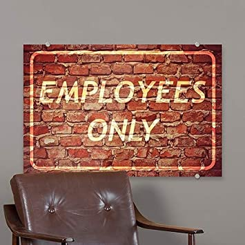 27x18 CGSignLab Employees Only Ghost Aged Brick Premium Acrylic Sign 5-Pack