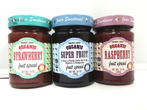 Trader Joe's Organic Fruit Spread 3-Pack / Strawberry, Raspberry & Superfruit