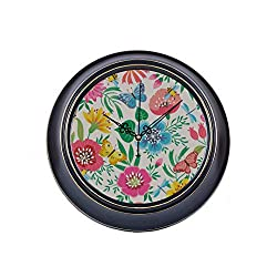 WIEDLKL 14inch Large Silent Non Ticking Modern Office Wall Clock Bright Floral Flowers Butterflies Metal School Clock Large Quality Quartz Battery Quiet Kid Wall Clock for Home Office