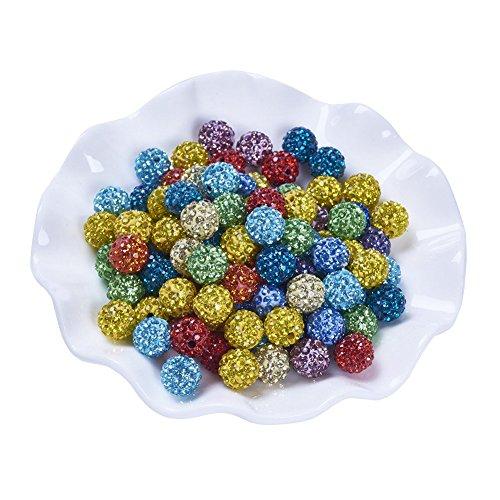 Pandahall 100pcs Chunky Resin Shamballa Rhinestone Beads Round Ball Bubblegum Beads Mixed Color 12mm for Jewelry Makings ()