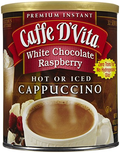 Caffe D'Vita White Chocolate Raspberry Instant Cappuccino Mix 16 Ounces