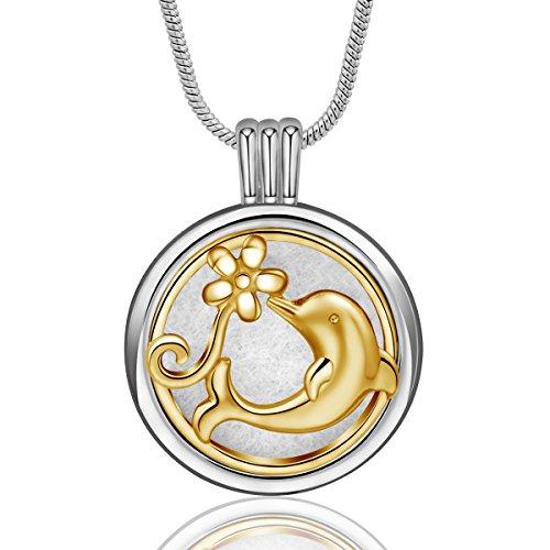 15 Mm Pendant Plumeria (INFUSEU Aromatherapy Necklace Essential Oil Diffuser Cute Dolphin Plumeria Locket Pendant Jewelry for Women Girl, 12PCS Refill Pads, 24