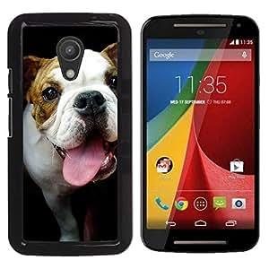 YiPhone /// Prima de resorte delgada de la cubierta del caso de Shell Armor - Bulldog Terrier Muzzle Tongue Black - Motorola MOTO G 2ND GEN II