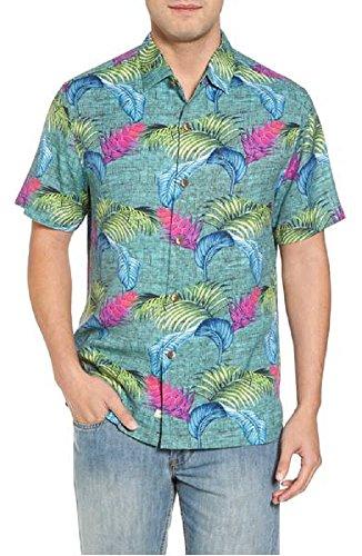 Bahama 100% Silk Shirt - Tommy Bahama Boca Bouquet Silk Camp Shirt (Color Grand Canal, Size XL)