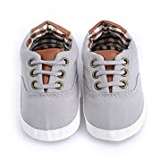 Firekim Baby Boys Girls Canvas Toddler Sneaker Anti-Slip First Walkers Shoes FrenchGrey 13cm