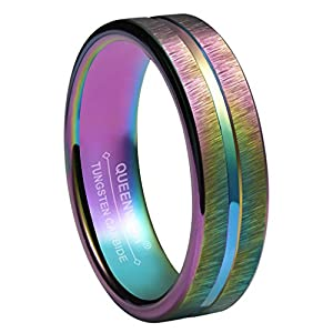 Queenwish 4mm Rainbow Wedding Bands Rings Tungsten Purple Brushed Comfort Fit Engagement Rings