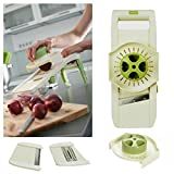 Lurch Heavy Duty Adjustable Mandoline Slicer With 3 Integrated Interchangeable Blades - Shredder, Waffle Slicer, Julienne Slicer, Onion Slicer And More, Non-Slip Feet And Guard