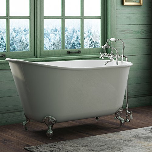 58' Cast Iron Swedish Tub with NO Faucet Holes & Chrome Feet- 'Holt'