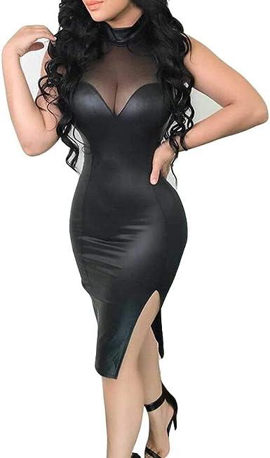 Amazon.com: E-Scenery Women Sexy Leather Dress Stitching Splits Sleeveless  Slim Club Night Out Dresses: Clothing