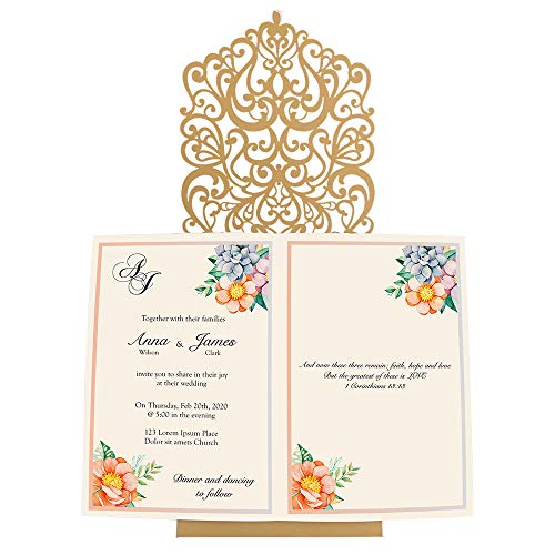 Doris Home Vertical Gold Classic Style Wedding Invitations with Rhinestone Cards Kit Custom,CW5010, 1pc