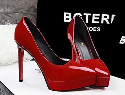 de Tacón Cerrada Minetom Charol Punta con Rojo de Stiletto Mujer Clásico Zapatos Zapatos Fiesta Boda Plataforma Tacón Shoes YwZ6AY