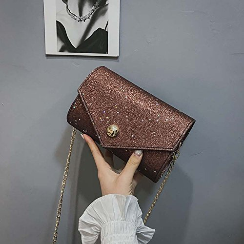 Majome Brightness Bag Women Bag Pu Leather Satchel Sequin Metal Chain Messenger Bag Crossbody Bags Brown