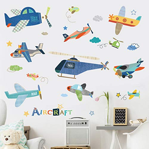 Wall Sticker SoungNerly Art Stickers Cartoon Children's Room boy Bedside Aircraft Decorations Cute Baby Kindergarten self-Adhesive -