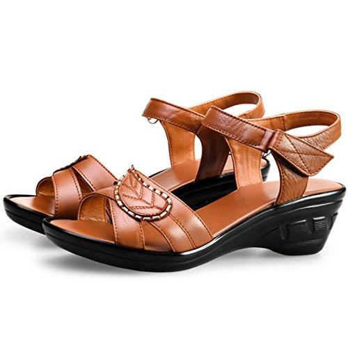 TAOFFEN 966 Women Wedges Brown Sandals Velcro Open Heel Comfortable Slingback Toe Summer rrOqUw