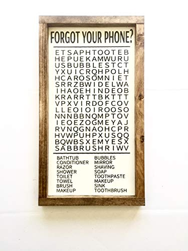 - FORGOT YOUR PHONE? | BATHROOM SIGN | BATHROOM CROSSWORD | FUNNY BATHROOM SIGN | FARMHOUSE BATHROOM SIGN