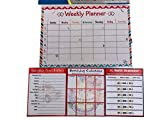 4 Piece Set: Monthly Magnetic Refrigerator Dry Erase Board Weekly Planer, Emergency Phone Numbers, Refill Reminder & Birthday Calendar (Multi Color Trim)