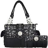 Western Style Fringe Laser Cut Purse Concealed Carry Handbags Women Totes Country Shoulder Bag Wallet Set (Black Set)