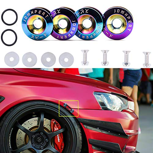Xotic Tech Neo Chrome JDM Quick Release Fasteners for Car Bumpers Trunk Fender Hatch Lids