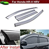 4pcs Tea Color Sun Guards Rain Guards Wind Guards Sun Shade For Car Window Vent Shade Wind Deflector Window with Chrome Trim Emblems Custom Fit For Honda HR-V HRV 2015 2016 2017