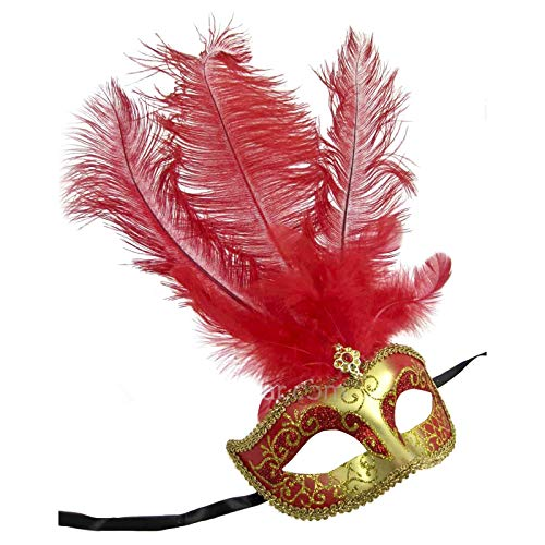 Women's Feather Topped Masquerade Mask (Gold/Red) -