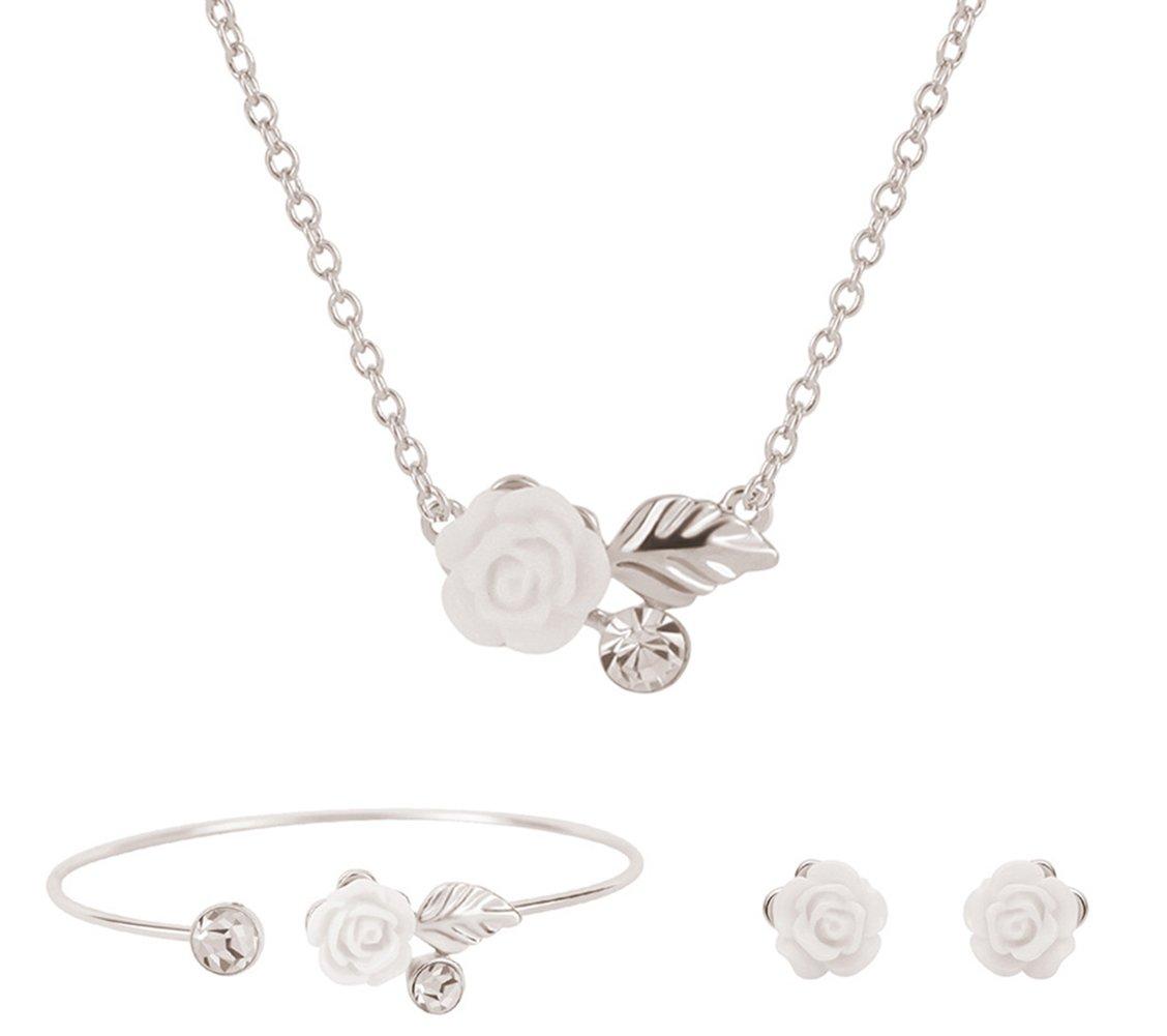 Scrox Collier Boucles doreilles Set Collier Boucles doreilles Pendentif Charme Bracelet Bijoux Diamant en Cristal Autrichien V/êtements avec Accessoires
