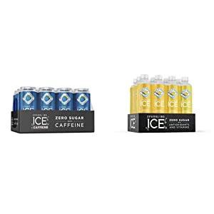 Sparkling Ice +Caffeine Blue Raspberry Sparkling Water, 16 fl oz Cans (Pack Of 12) & , Coconut Pineapple Sparkling Water, with Antioxidants and Vitamins, Zero Sugar, 17 fl oz Bottles (Pack of 12)