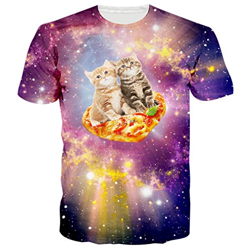 RAISEVERN Men's Galaxy Space Pizza Cat Printed Summer Crewneck T-Shirts Tees