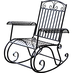 Genial Snowberry Premium Iron Outdoor Porch Rocking Chair In Black Finish UV  Resistant And Weather Resistant 350 Pounds Weight Capacity 38u0027u0027 H X 33u0027u0027 W  X 35u0027u0027 D