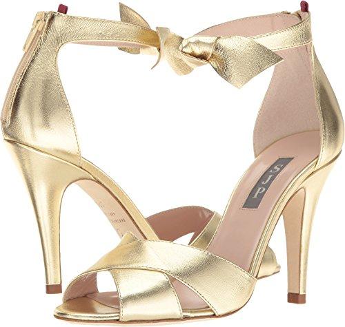 - SJP by Sarah Jessica Parker Women's Buckingham Platino Gold Leather Sandal