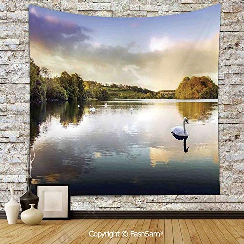 FashSam Tapestry Wall Blanket Wall Decor Swans Resting on a Lake Covered by Forest in The Scottish Highlands Home Decorations for Bedroom(W59xL90)