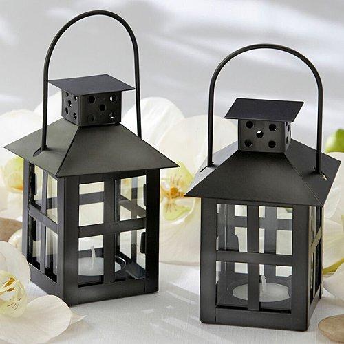 Kate Aspen Luminous Black Mini-Lantern Tea Light Holder